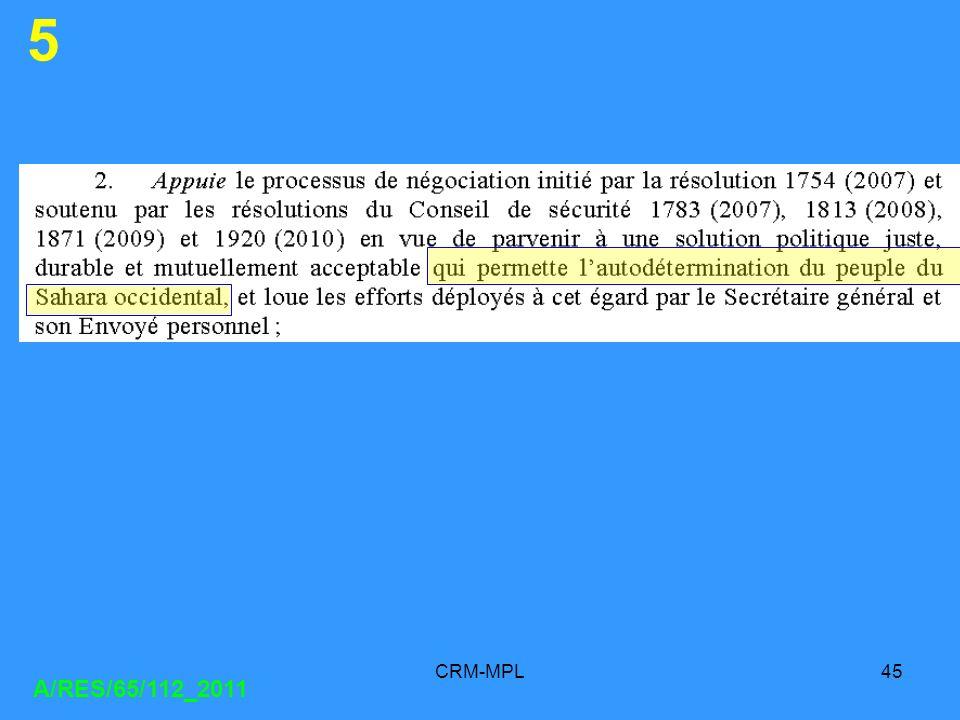 5 CRM-MPL A/RES/65/112_2011