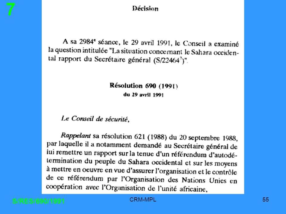 7 S/RES/690/1991 CRM-MPL
