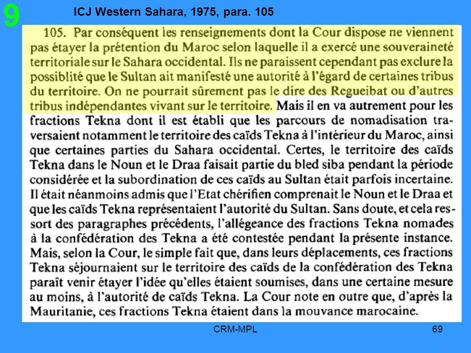 ICJ Western Sahara, 1975, para. 105