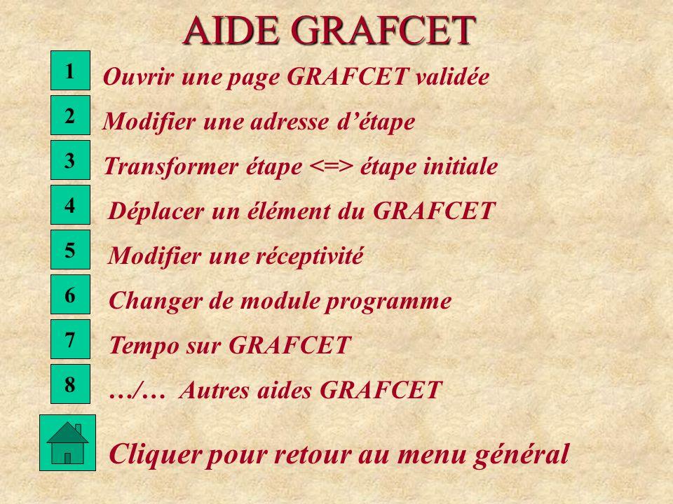 AIDE GRAFCET Cliquer pour retour au menu général