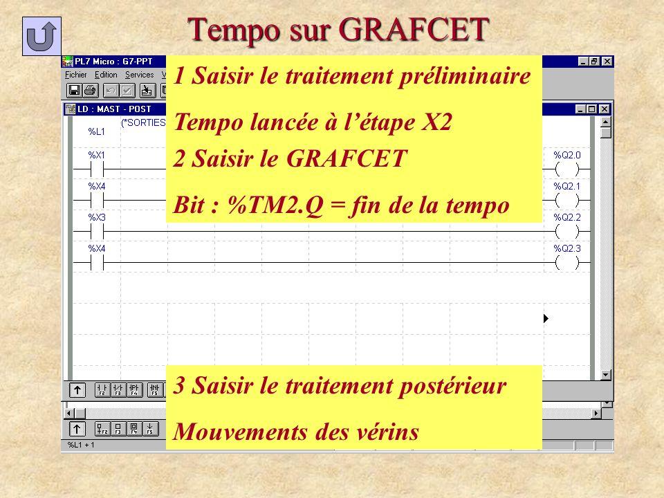 Tempo sur GRAFCET 1 Saisir le traitement préliminaire