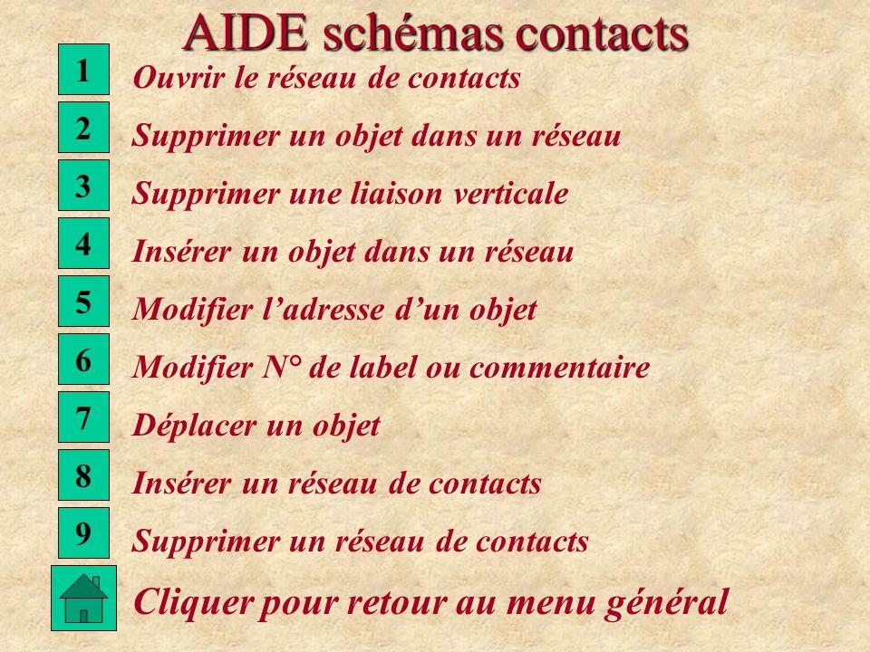 AIDE schémas contacts Cliquer pour retour au menu général 1