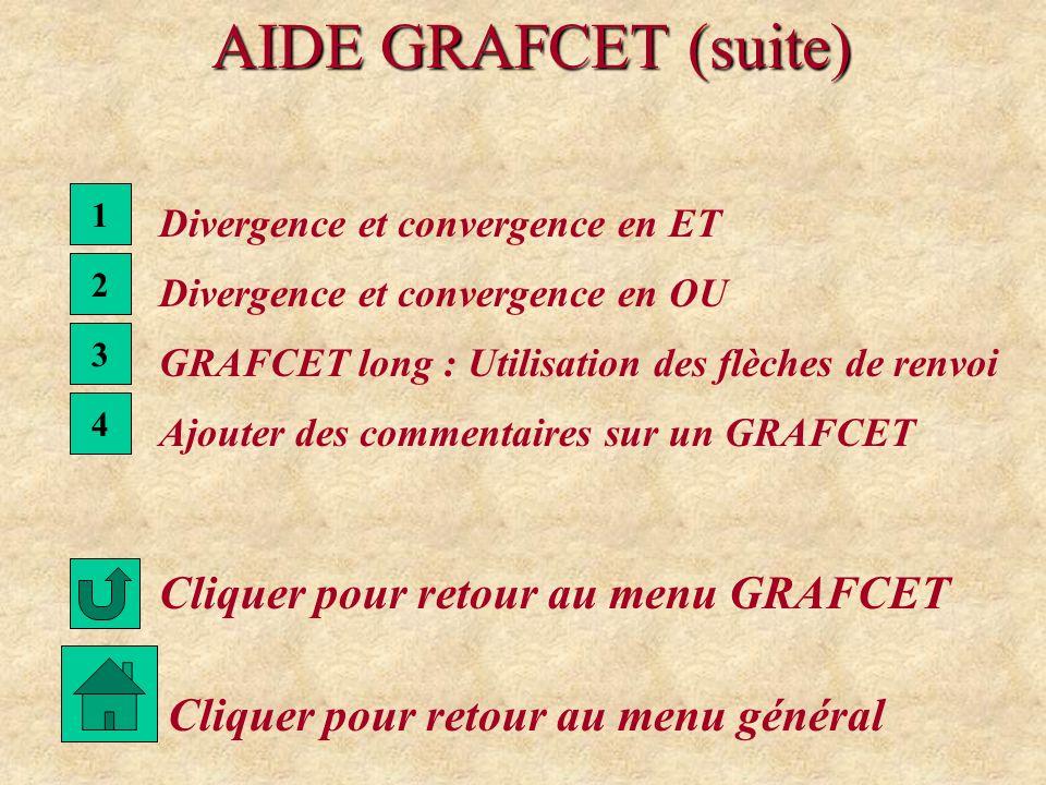 AIDE GRAFCET (suite) Cliquer pour retour au menu GRAFCET