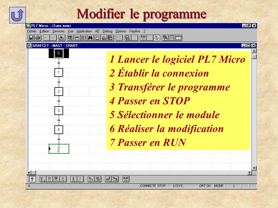 Modifier le programme 1 Lancer le logiciel PL7 Micro