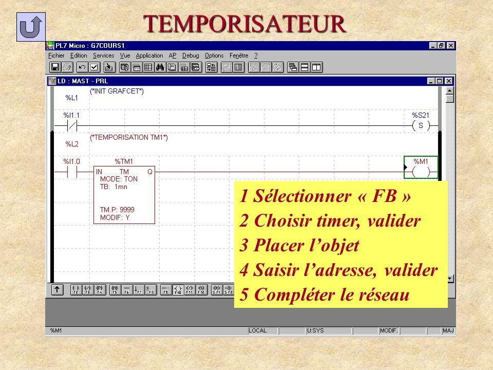 TEMPORISATEUR 1 Sélectionner « FB » 2 Choisir timer, valider