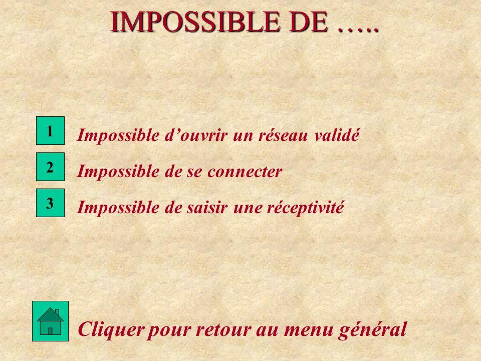 IMPOSSIBLE DE ….. Cliquer pour retour au menu général