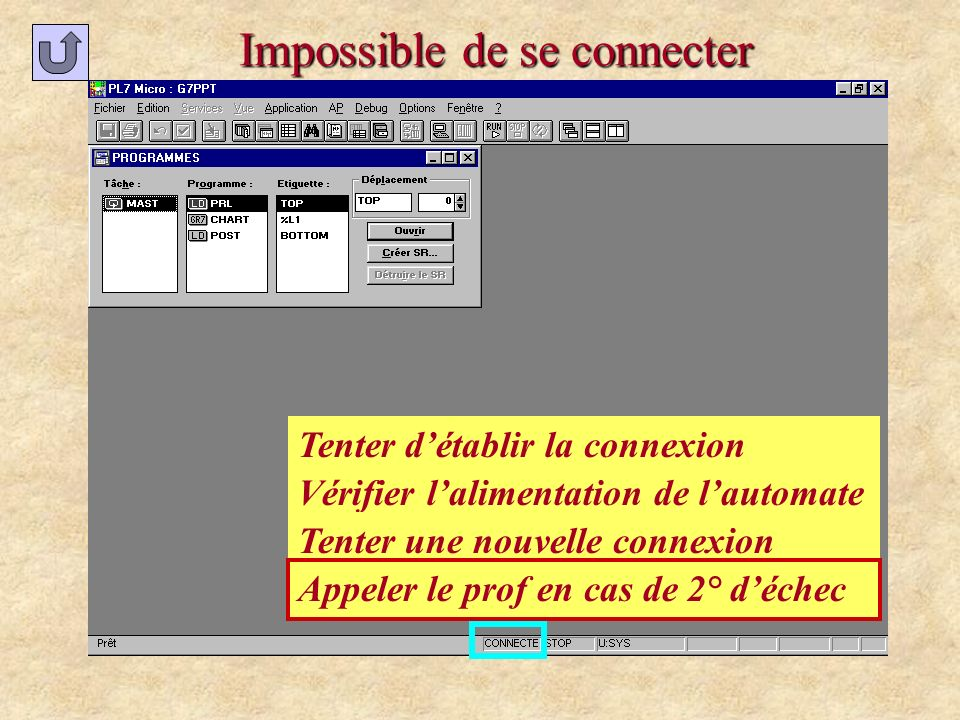 Impossible de se connecter