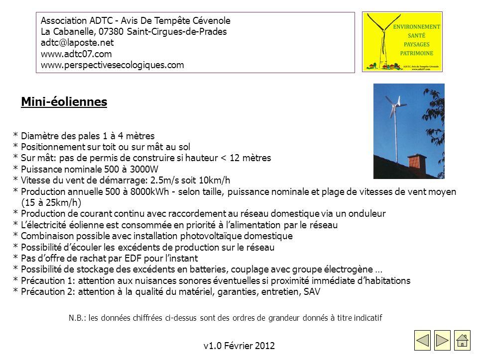 Mini-éoliennes * Diamètre des pales 1 à 4 mètres