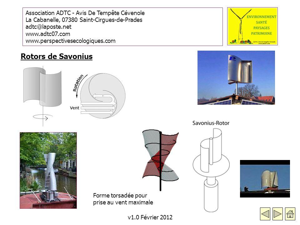 Rotors de Savonius Forme torsadée pour prise au vent maximale