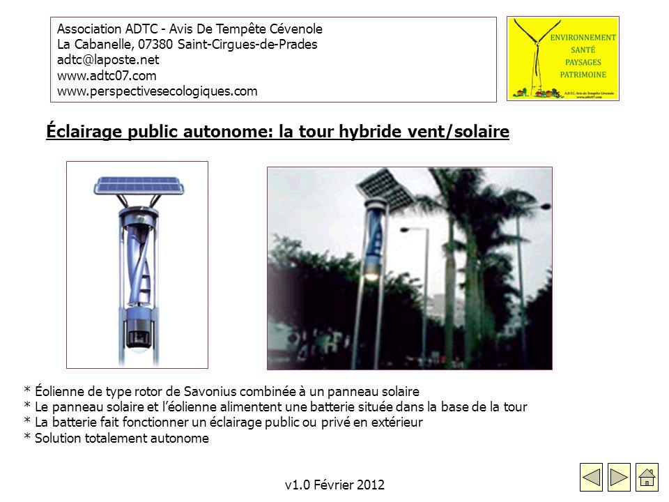 Éclairage public autonome: la tour hybride vent/solaire