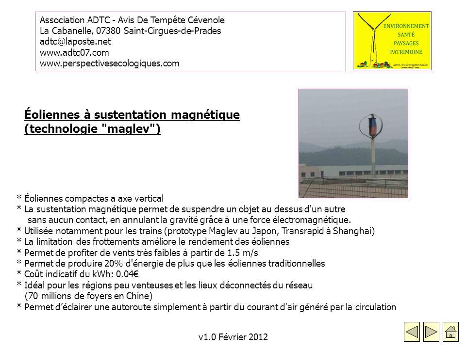 Éoliennes à sustentation magnétique (technologie maglev )