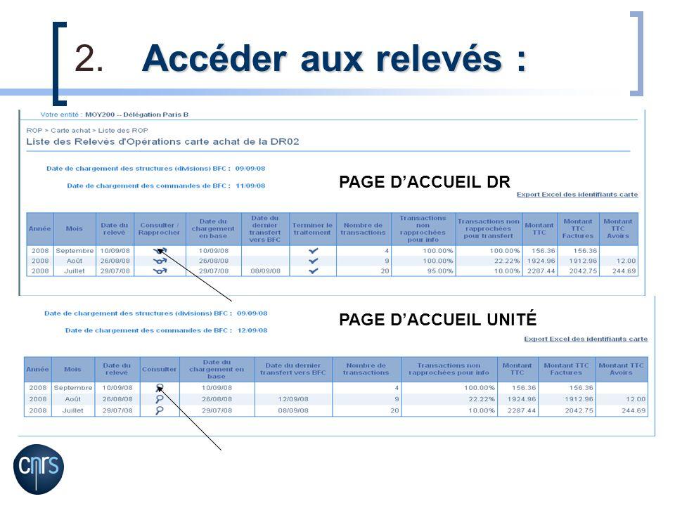 Accéder aux relevés : PAGE D'ACCUEIL DR PAGE D'ACCUEIL UNITÉ