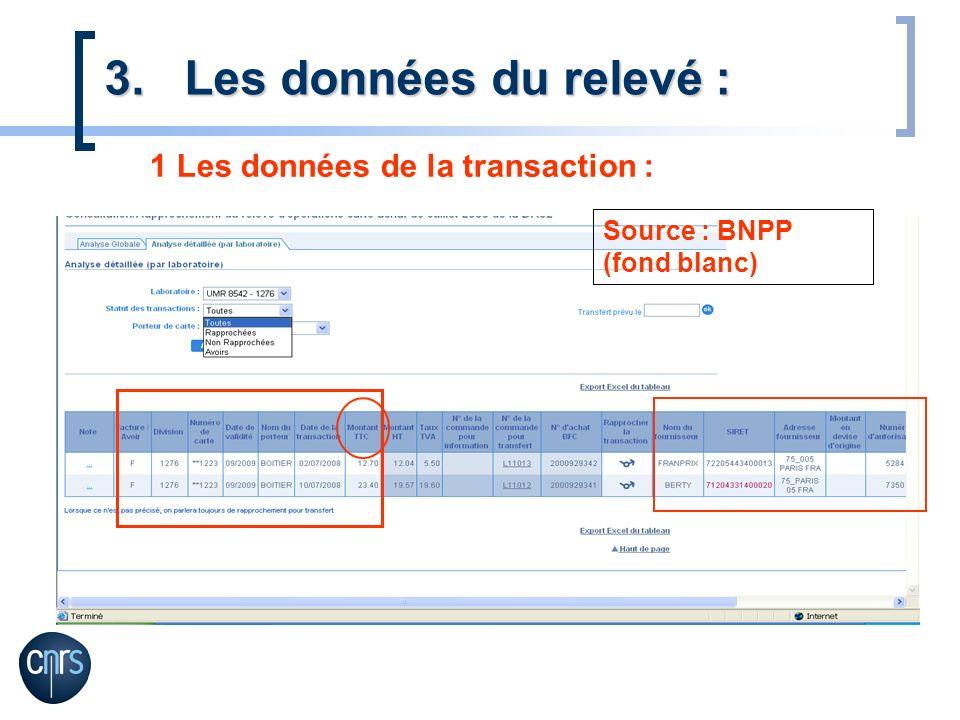 Les données du relevé : 1 Les données de la transaction :