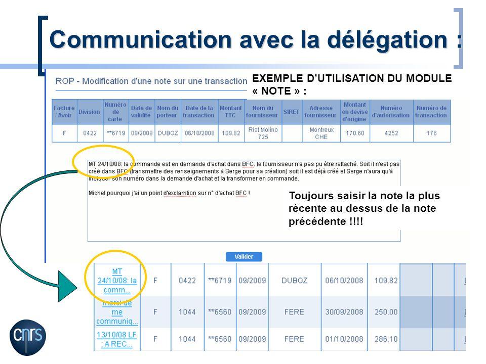 Communication avec la délégation :