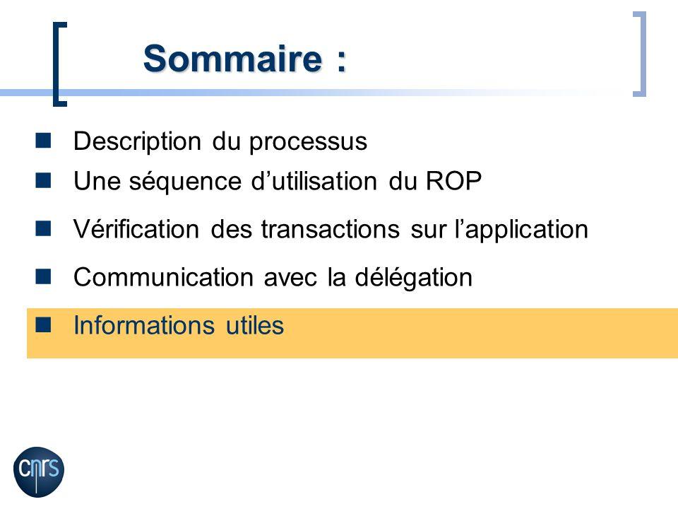 Sommaire : Description du processus Une séquence d'utilisation du ROP