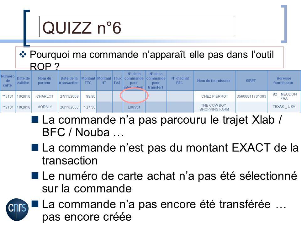 QUIZZ n°6 La commande n'a pas parcouru le trajet Xlab / BFC / Nouba …