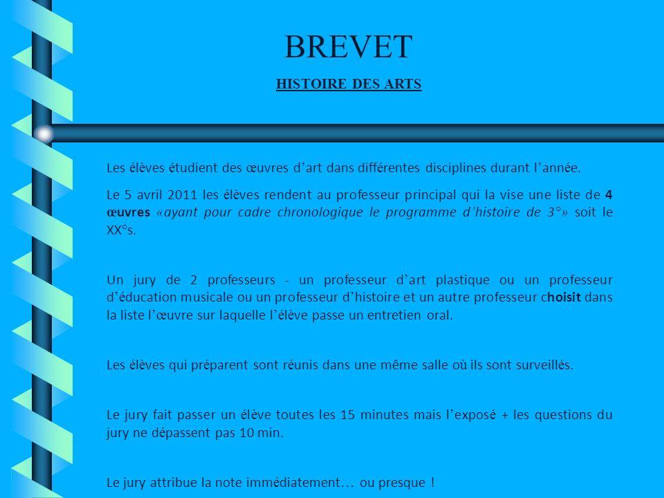 BREVET HISTOIRE DES ARTS