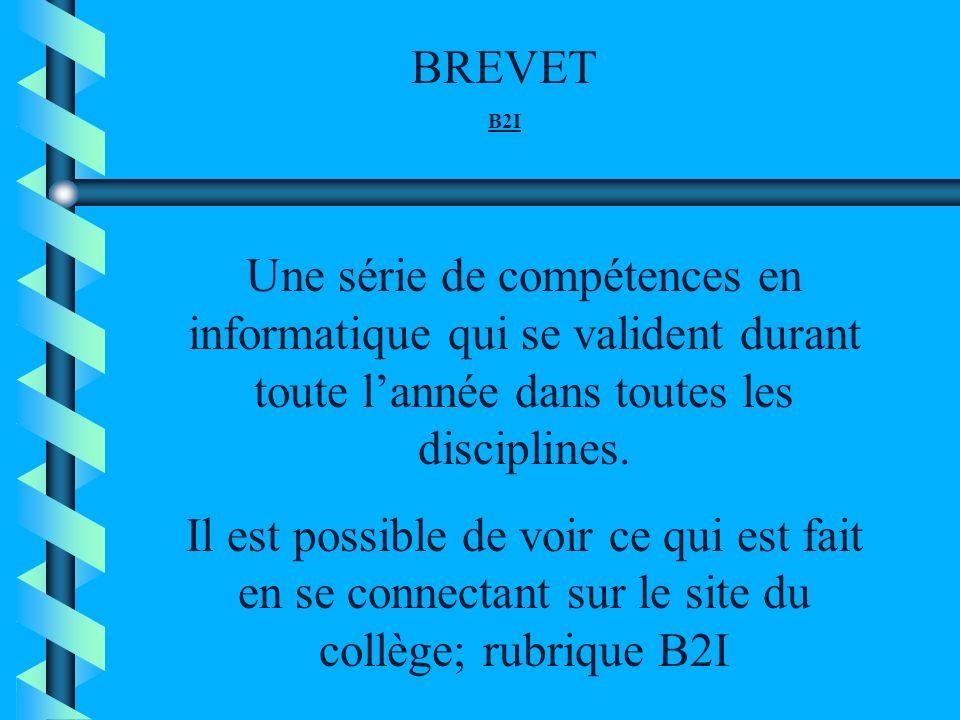 BREVET B2I. Une série de compétences en informatique qui se valident durant toute l'année dans toutes les disciplines.