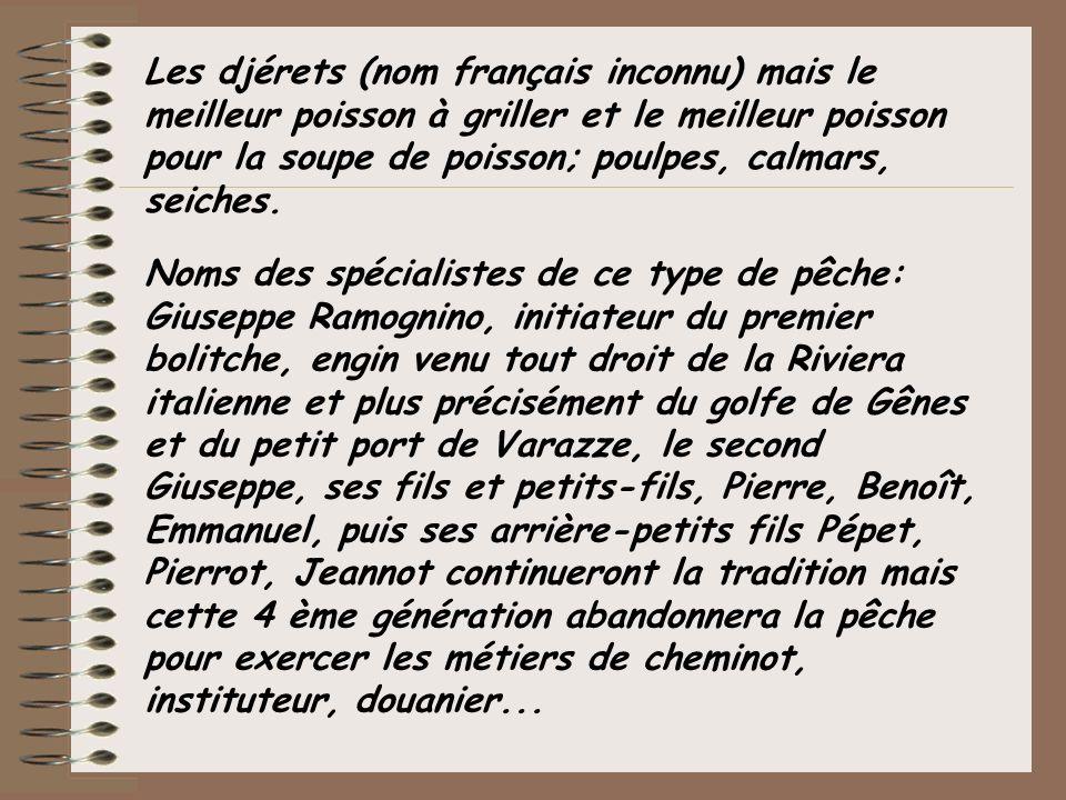 Les djérets (nom français inconnu) mais le meilleur poisson à griller et le meilleur poisson pour la soupe de poisson; poulpes, calmars, seiches.