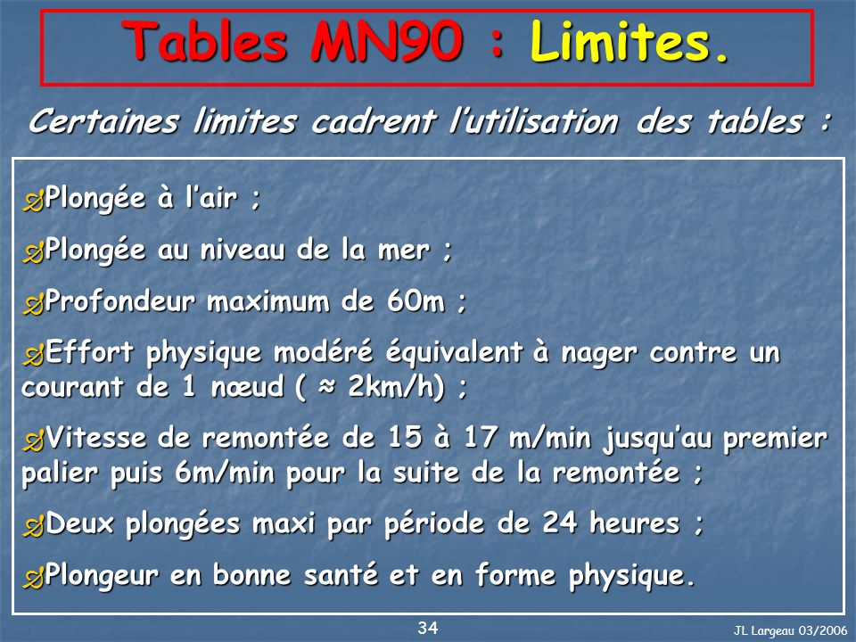Certaines limites cadrent l'utilisation des tables :