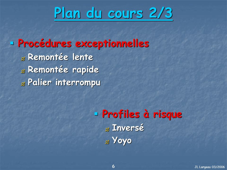 Plan du cours 2/3 Procédures exceptionnelles Profiles à risque