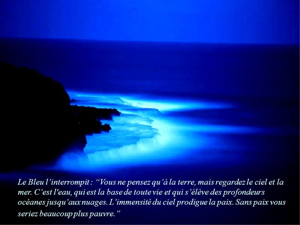 Le Bleu l'interrompit : Vous ne pensez qu'à la terre, mais regardez le ciel et la mer.
