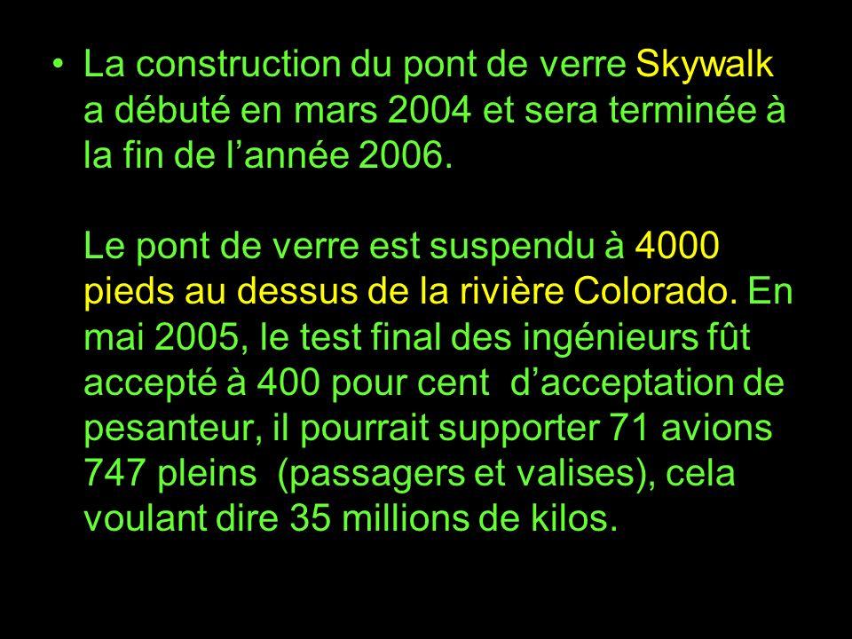 La construction du pont de verre Skywalk a débuté en mars 2004 et sera terminée à la fin de l'année 2006.