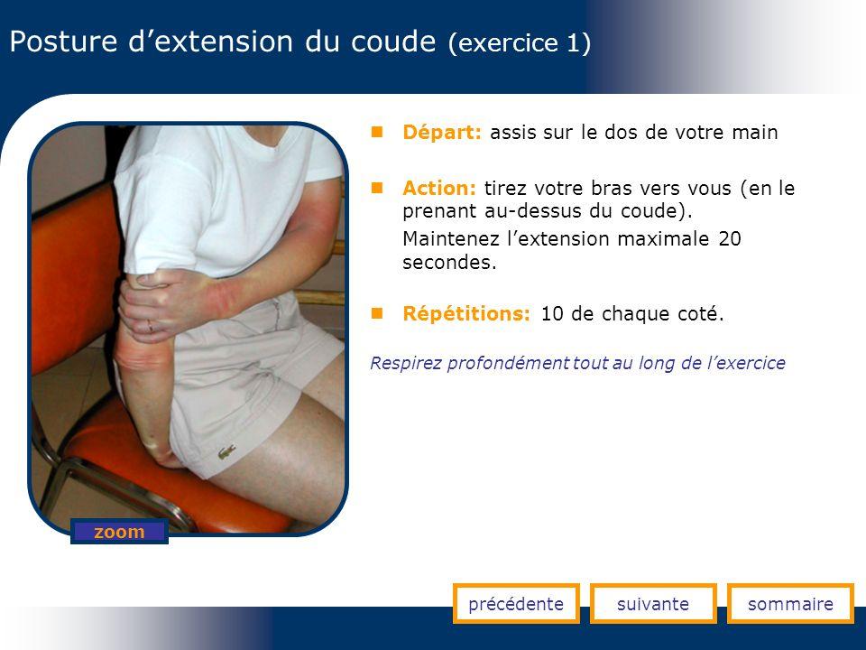 Posture d'extension du coude (exercice 1)