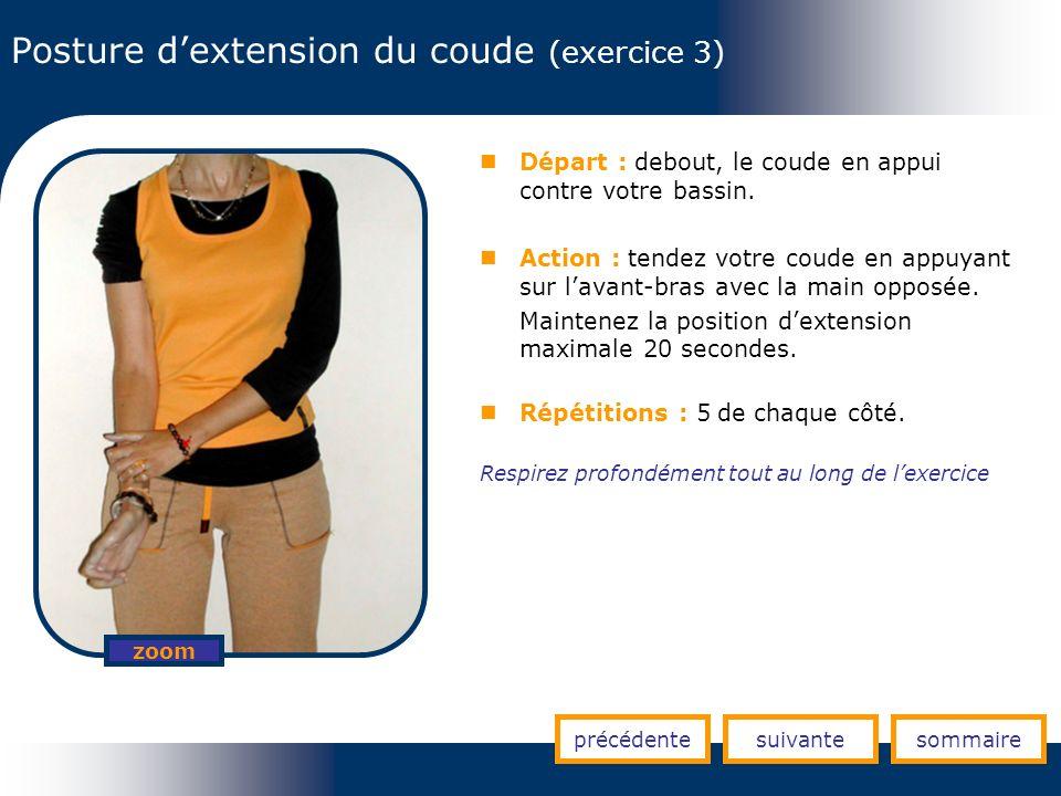 Posture d'extension du coude (exercice 3)