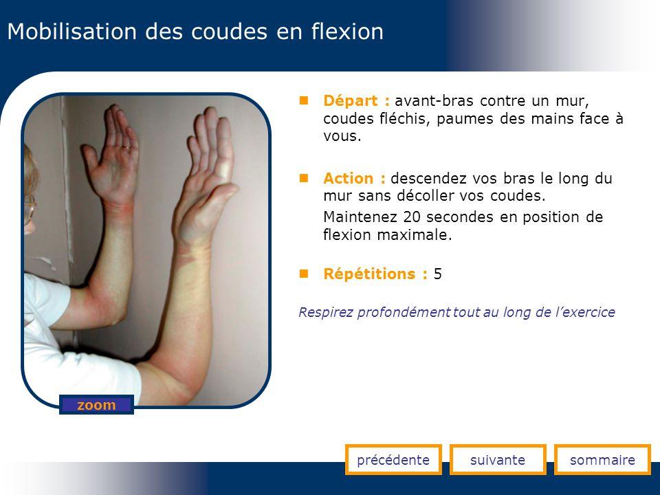 Mobilisation des coudes en flexion