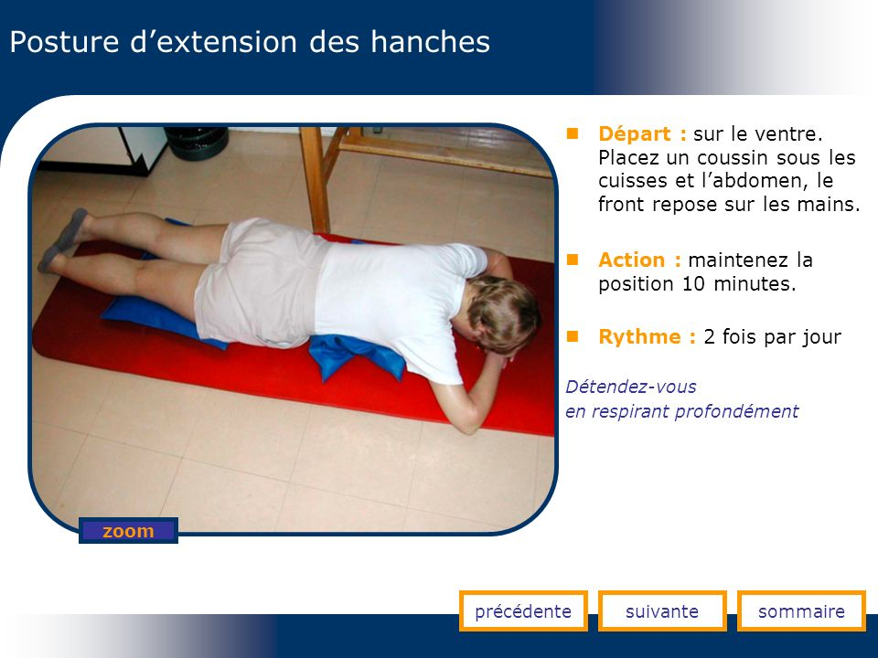 Posture d'extension des hanches