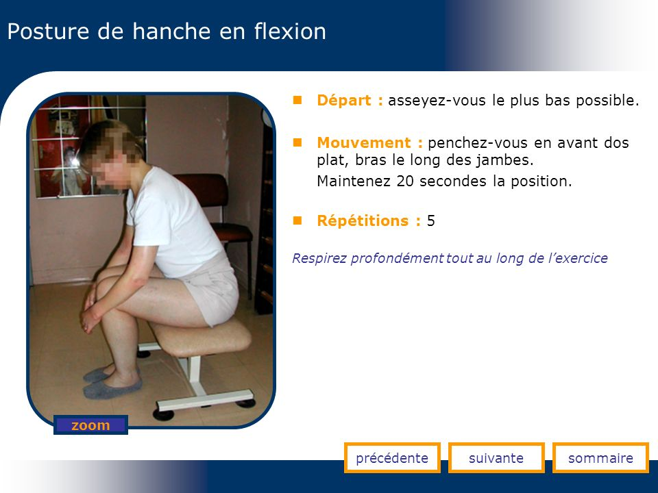 Posture de hanche en flexion