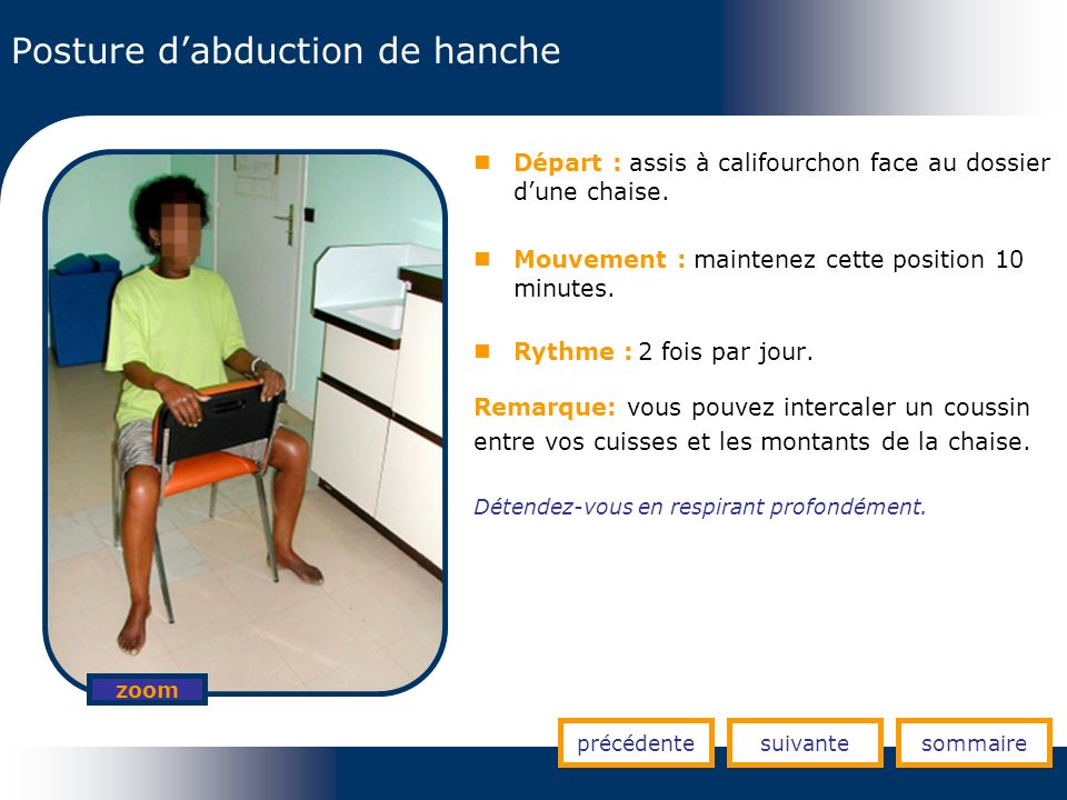 Posture d'abduction de hanche