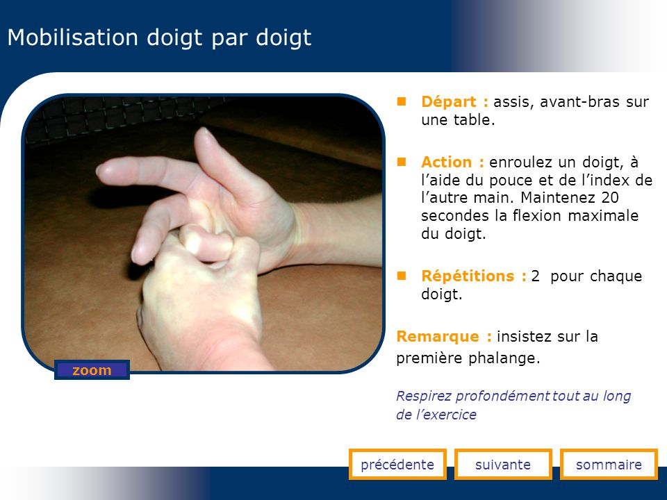 Mobilisation doigt par doigt