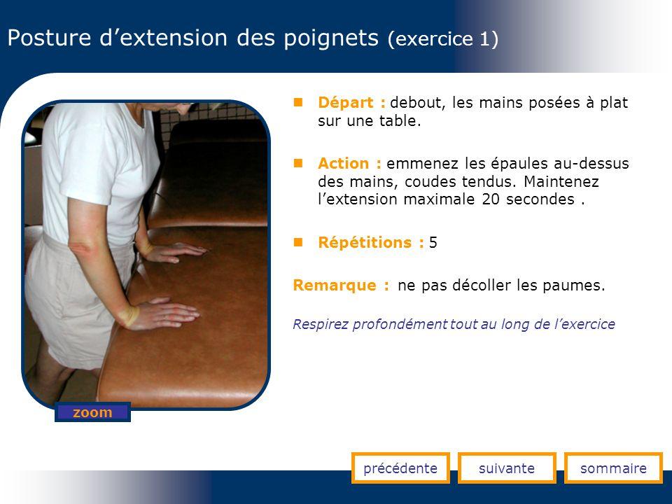 Posture d'extension des poignets (exercice 1)