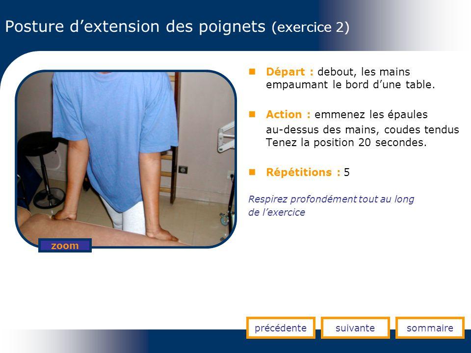 Posture d'extension des poignets (exercice 2)