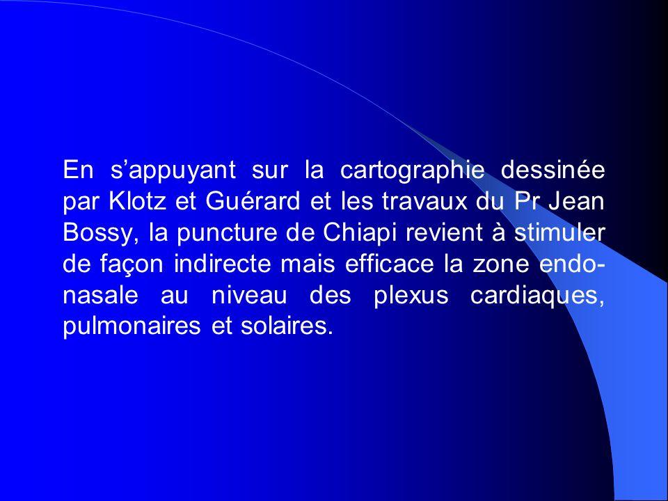 En s'appuyant sur la cartographie dessinée par Klotz et Guérard et les travaux du Pr Jean Bossy, la puncture de Chiapi revient à stimuler de façon indirecte mais efficace la zone endo-nasale au niveau des plexus cardiaques, pulmonaires et solaires.