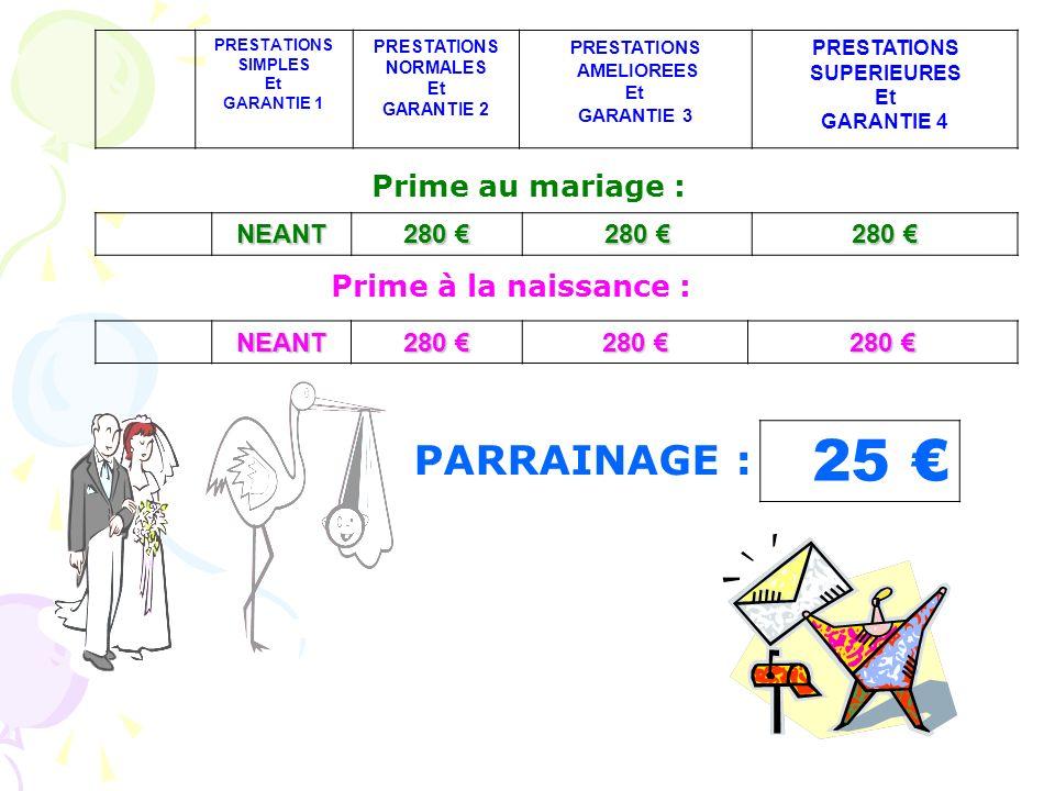 25 € PARRAINAGE : Prime au mariage : Prime à la naissance : NEANT