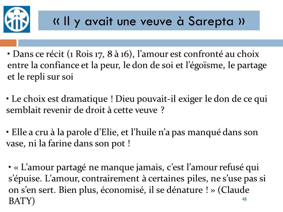 « Il y avait une veuve à Sarepta »