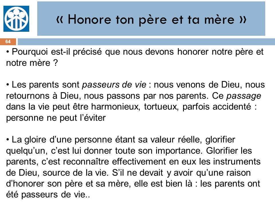 « Honore ton père et ta mère »