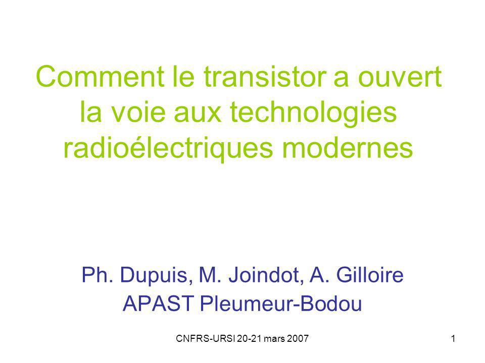 Ph. Dupuis, M. Joindot, A. Gilloire APAST Pleumeur-Bodou
