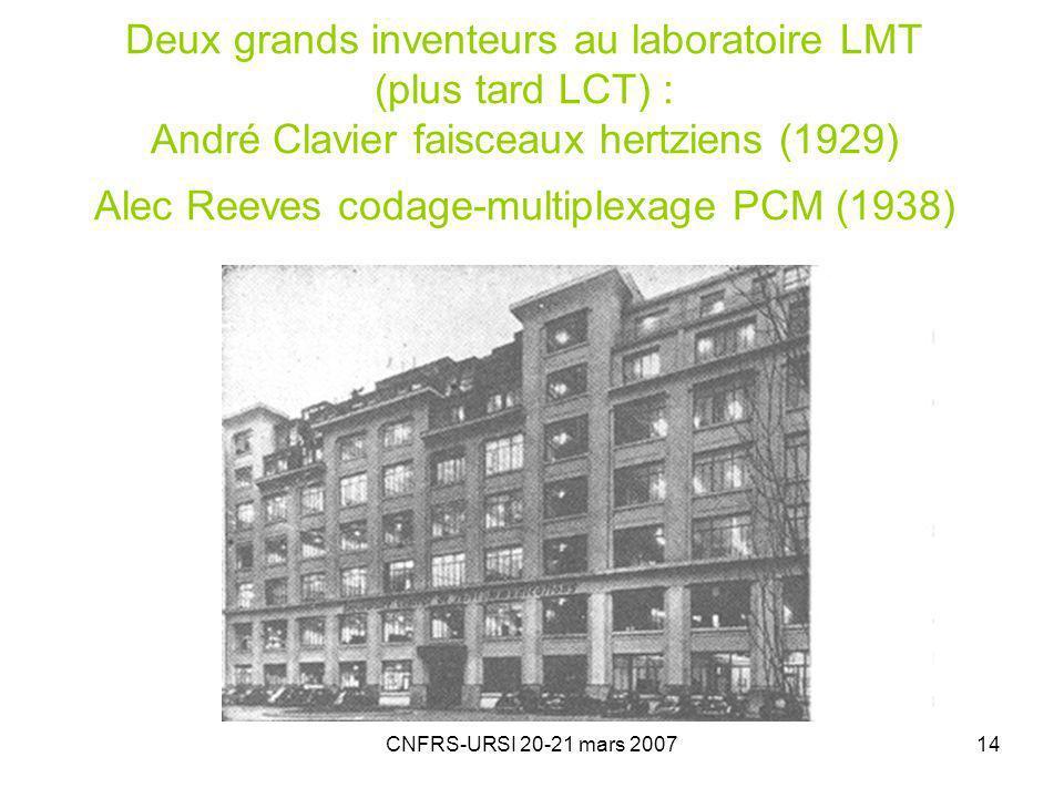 Deux grands inventeurs au laboratoire LMT (plus tard LCT) : André Clavier faisceaux hertziens (1929) Alec Reeves codage-multiplexage PCM (1938)