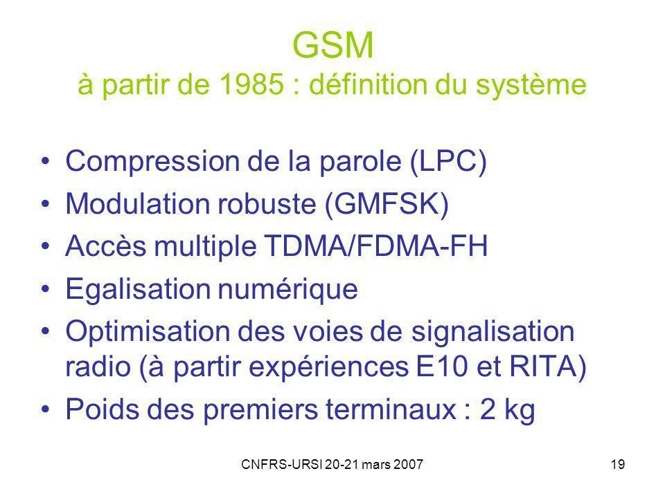 GSM à partir de 1985 : définition du système