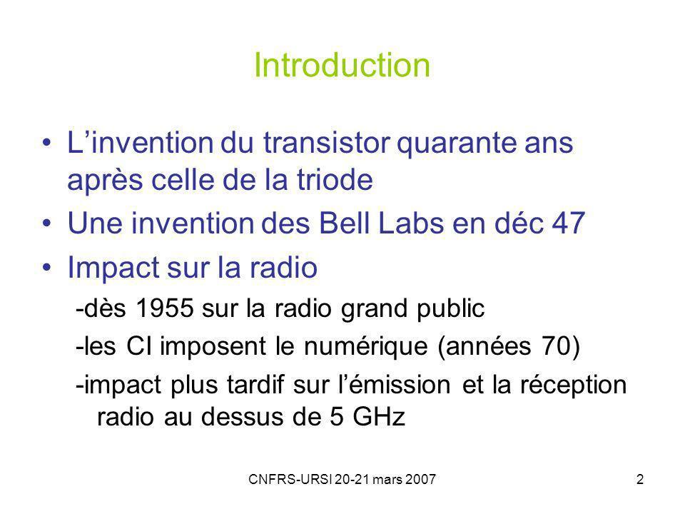 Introduction L'invention du transistor quarante ans après celle de la triode. Une invention des Bell Labs en déc 47.