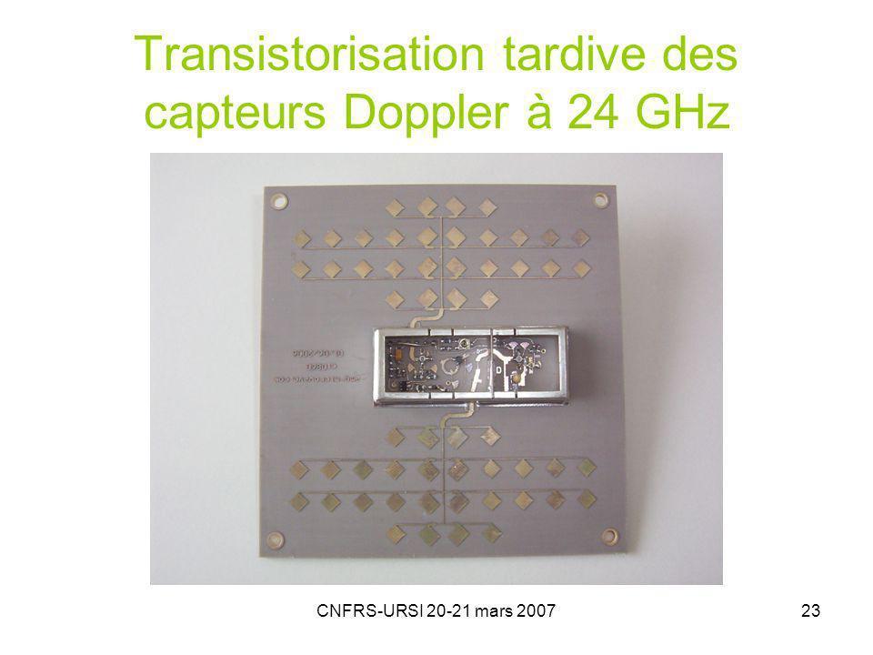 Transistorisation tardive des capteurs Doppler à 24 GHz