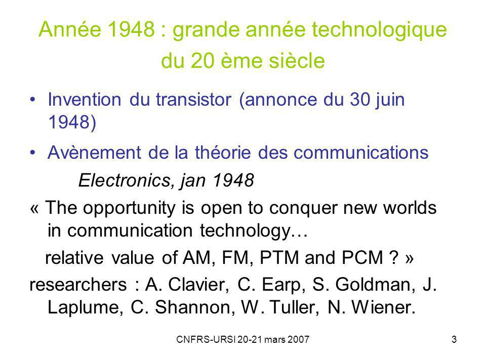 Année 1948 : grande année technologique du 20 ème siècle