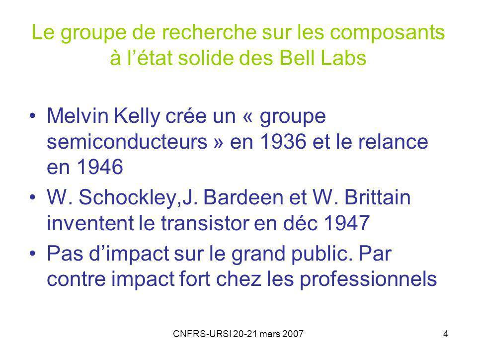 Le groupe de recherche sur les composants à l'état solide des Bell Labs