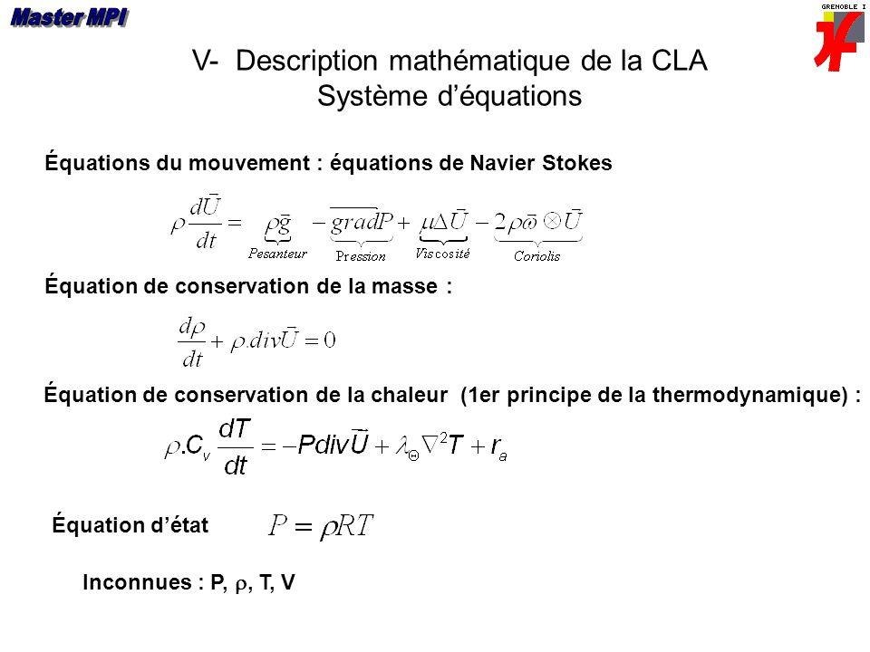 V- Description mathématique de la CLA Système d'équations