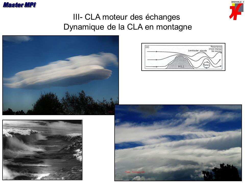 III- CLA moteur des échanges Dynamique de la CLA en montagne