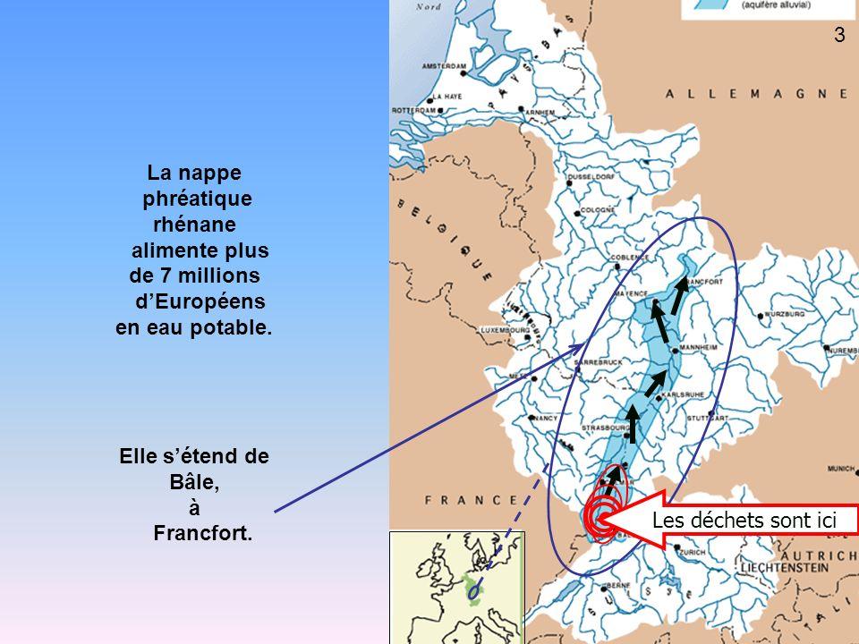 La nappe phréatique. rhénane. alimente plus. de 7 millions. d'Européens. en eau potable. Elle s'étend de.